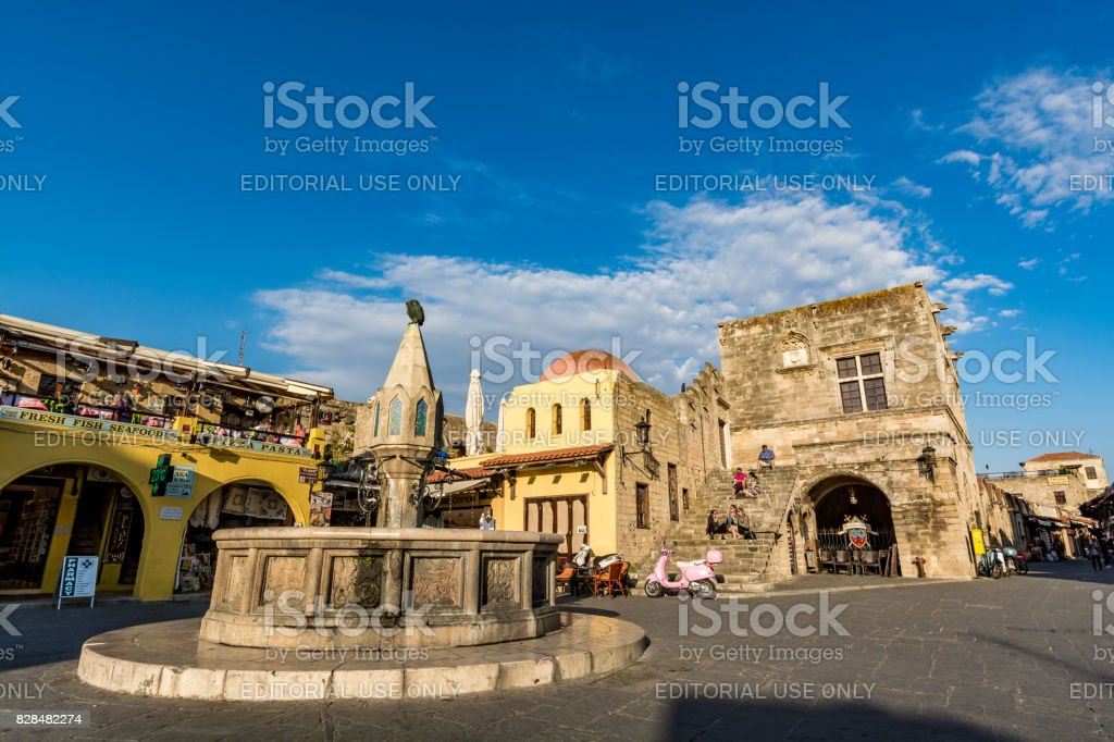 Main square of Rhodes old town, Hipocrates square, Greece stock photo
