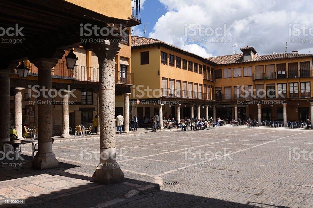 Main Square of Tordesillas, Valladolid province, stock photo