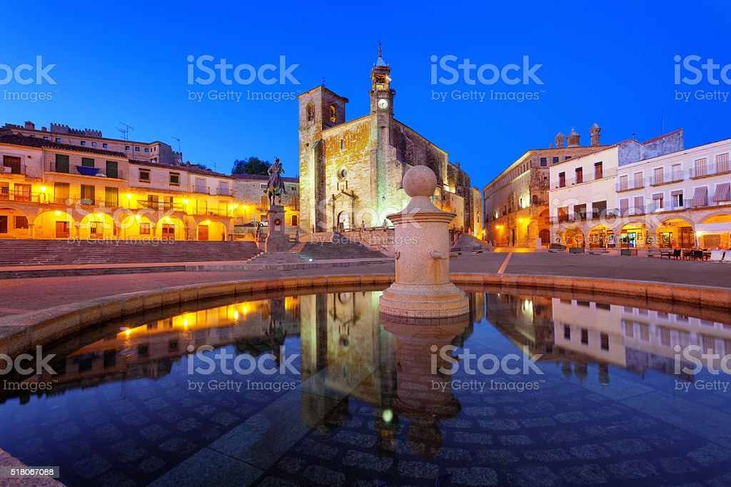 Main square of Trujillo at twilight stock photo