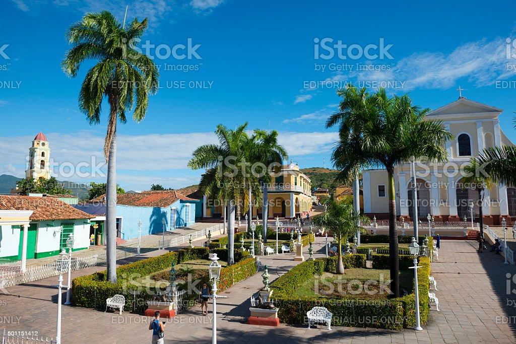 Main square Plaza Mayor in Trinidad, Cuba stock photo