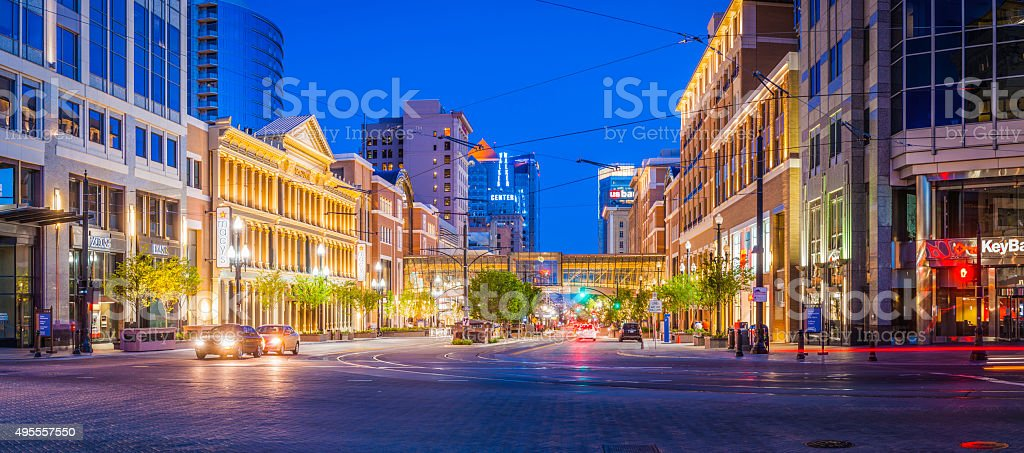 Main St stores banks illuminated Salt Lake City Utah USA stock photo