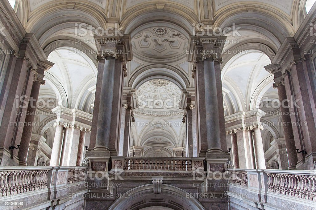 main stairway of Palazzo Reale in Caserta stock photo