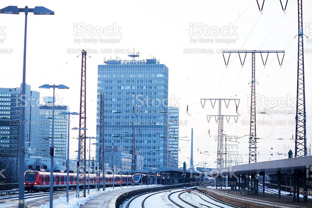 Main station of Essen in winter stock photo
