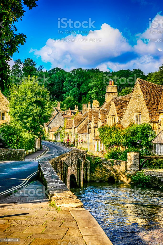 Main Street and the Bybrook River in Castle Combe, UK stock photo