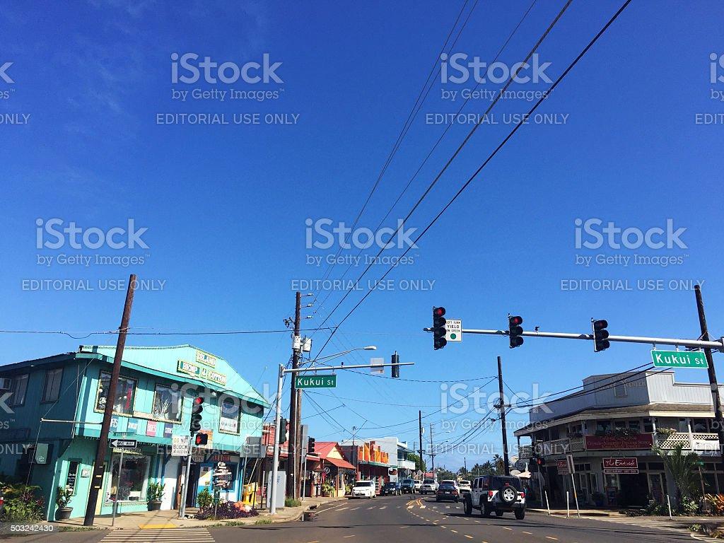 Main street downtown Kapaa Town, Kauai stock photo