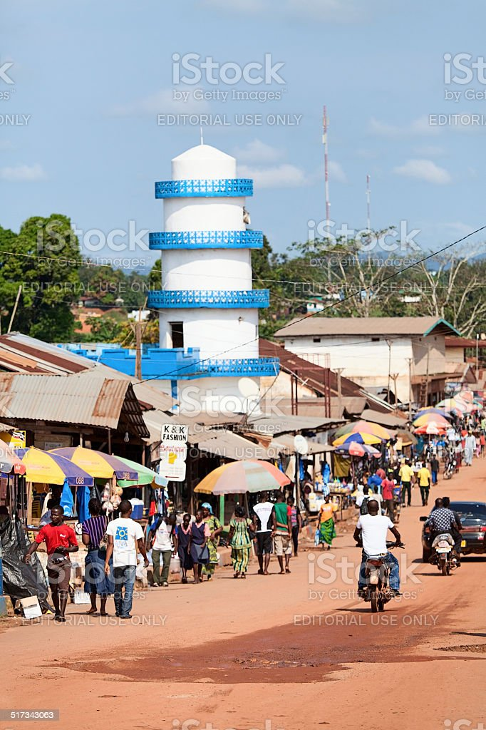 Main street in african city. stock photo
