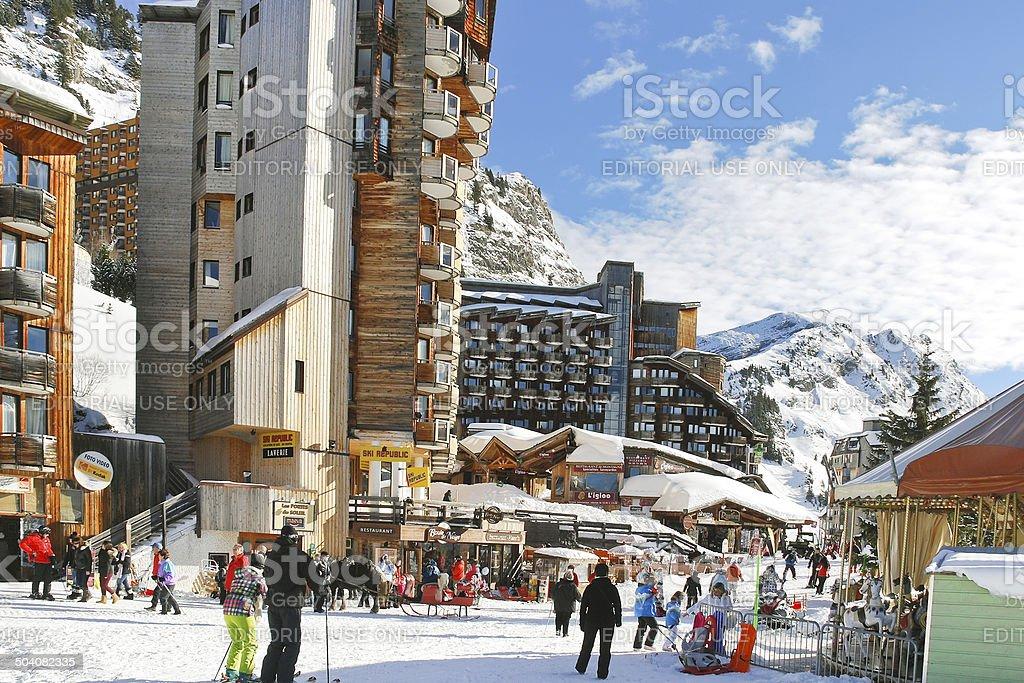 main street in Avoriaz town in Alps, France stock photo