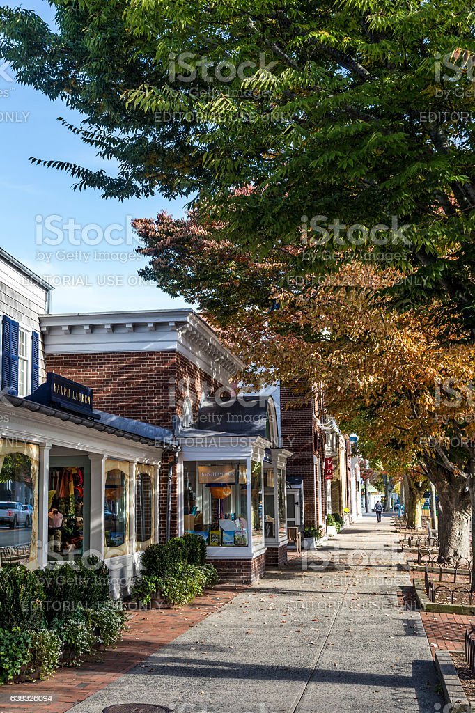 Main street in East Hampton with old victorian buildings stock photo