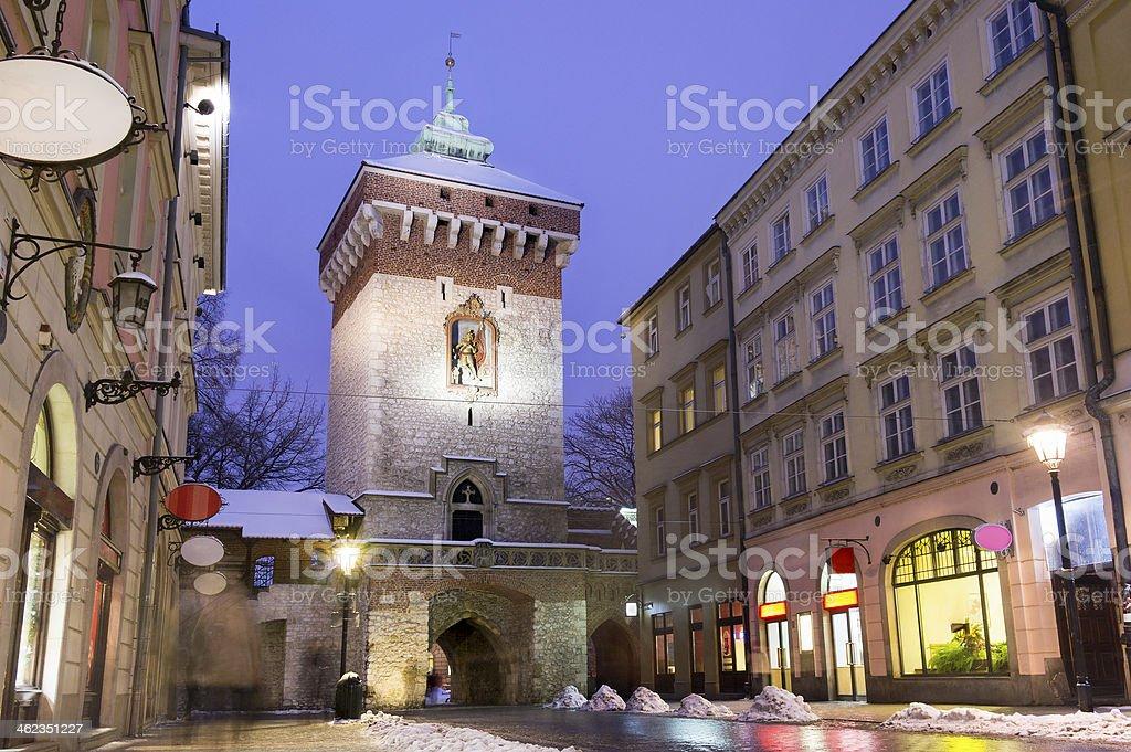 Main street in historic Krakow, Poland stock photo