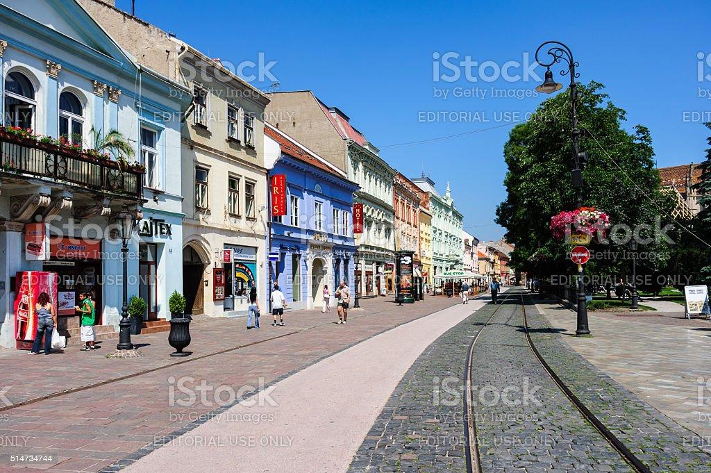 Main street in Kosice stock photo