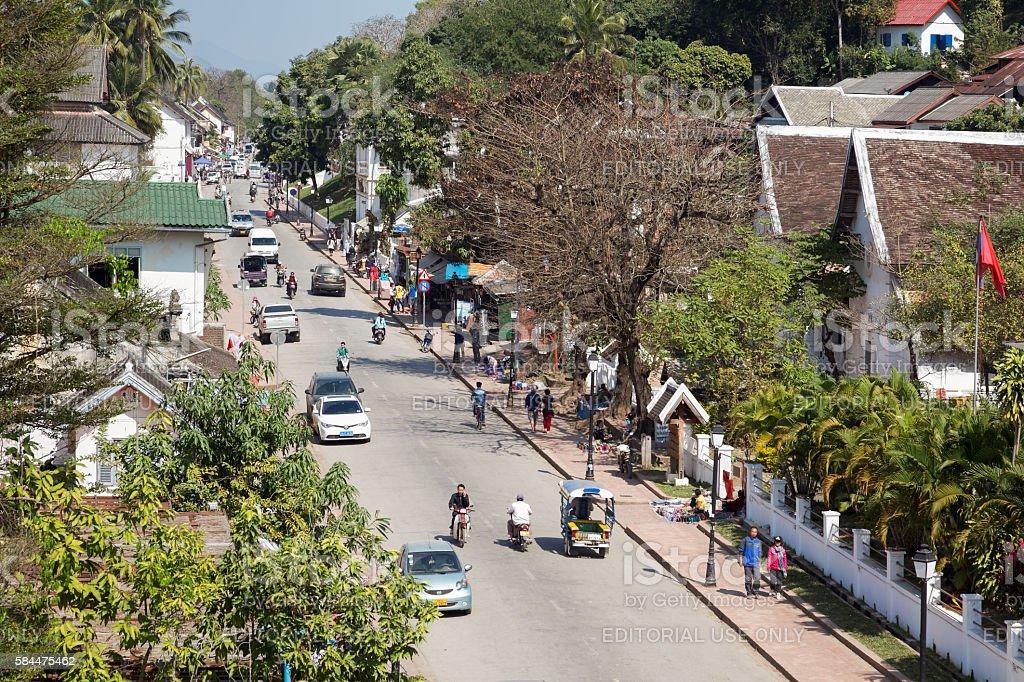 Main Street in Luang Prabang stock photo