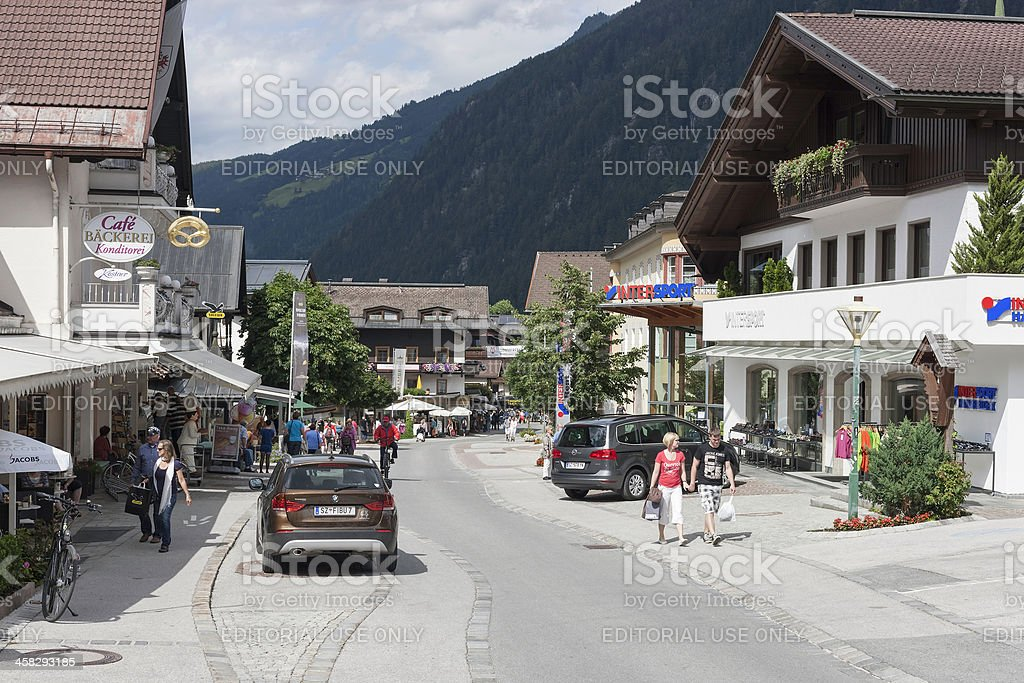 Main street in Mayrhofen royalty-free stock photo