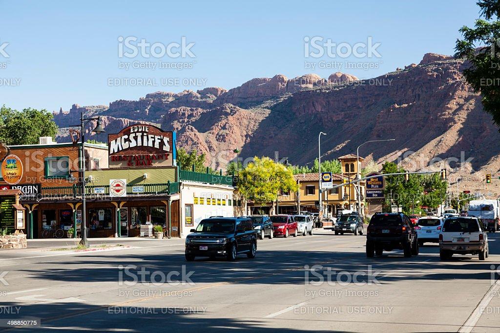Main Street in Moab Utah stock photo