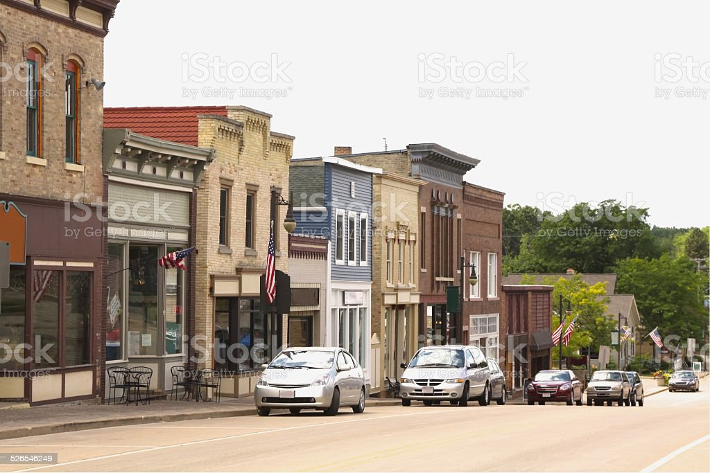 Main Street In Older Town stock photo