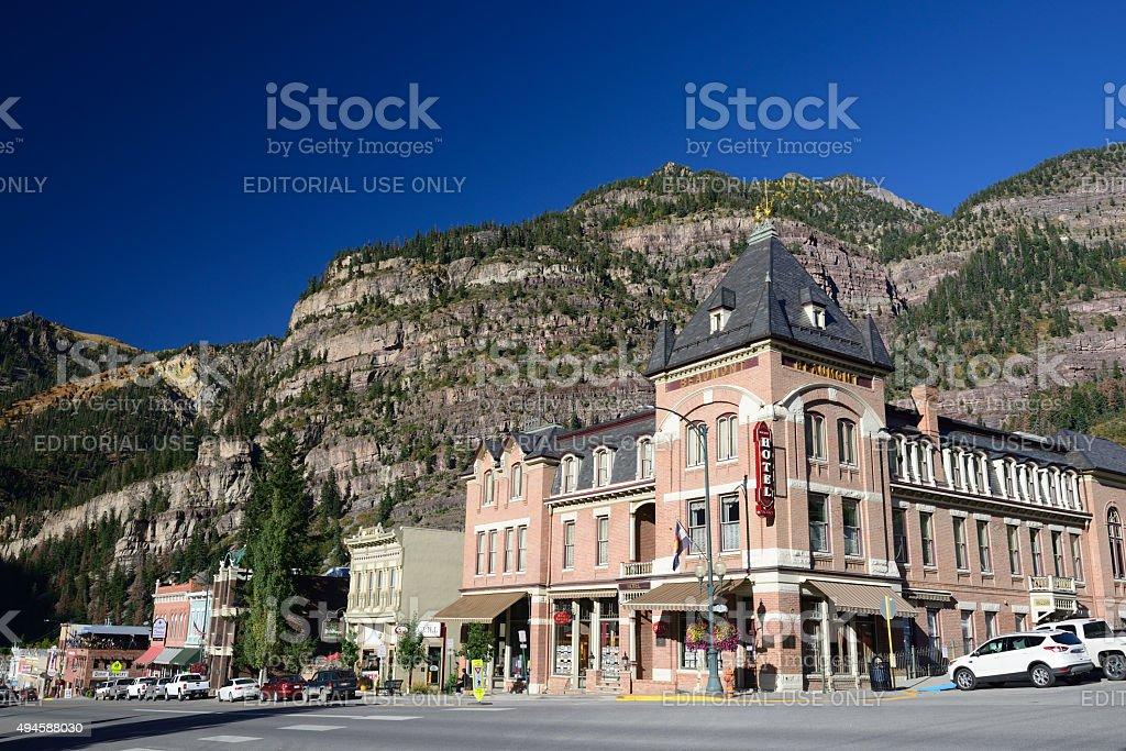 Main Street in Ouray Colorado stock photo