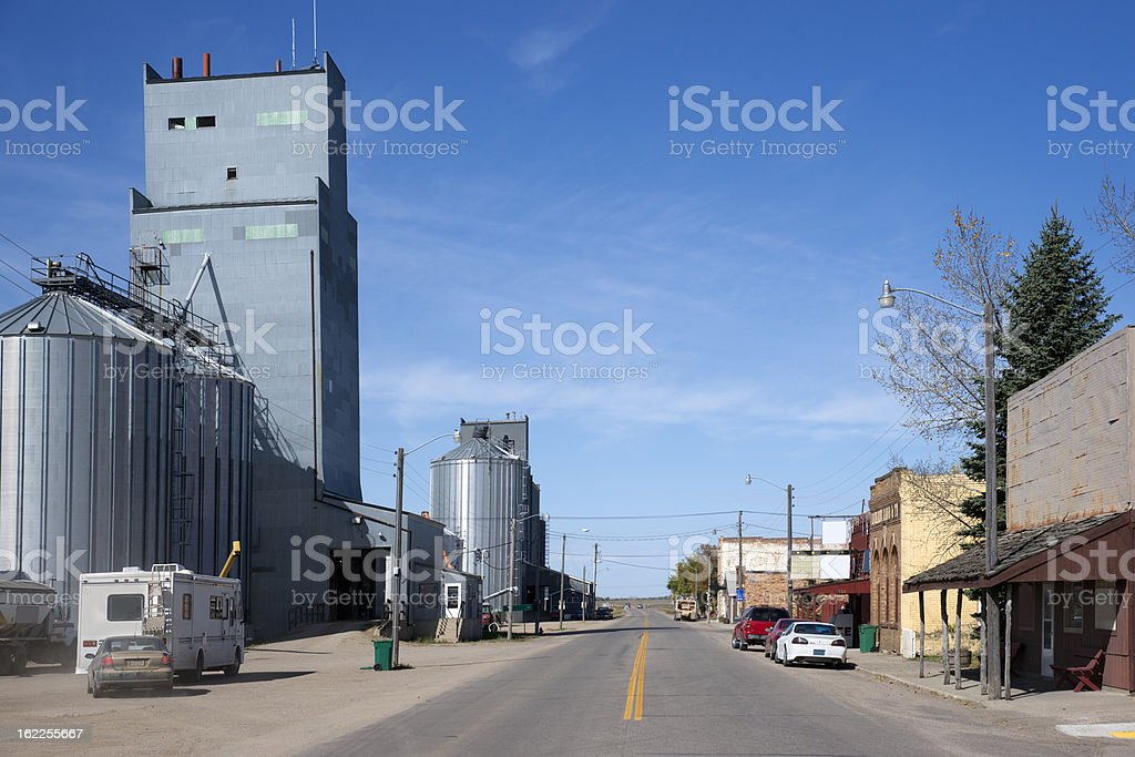 Main Street in Small North Dakota Town royalty-free stock photo