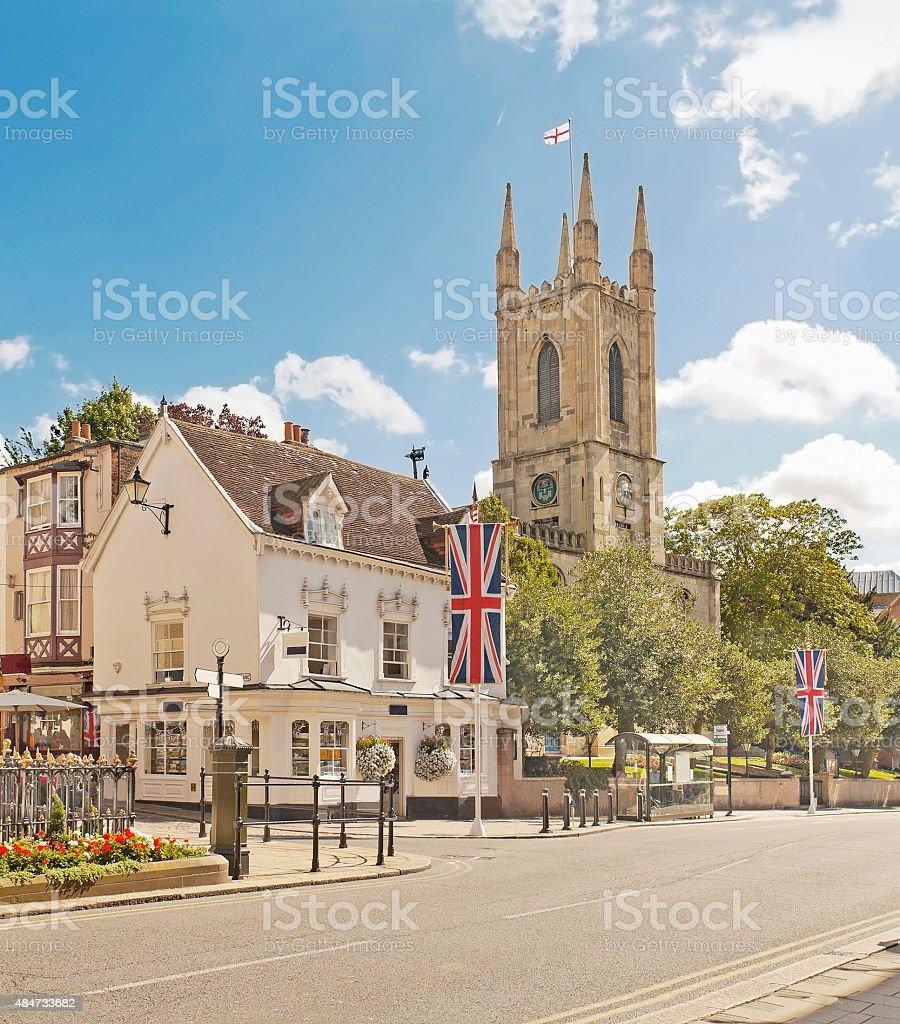 Main street in Windsor, England stock photo
