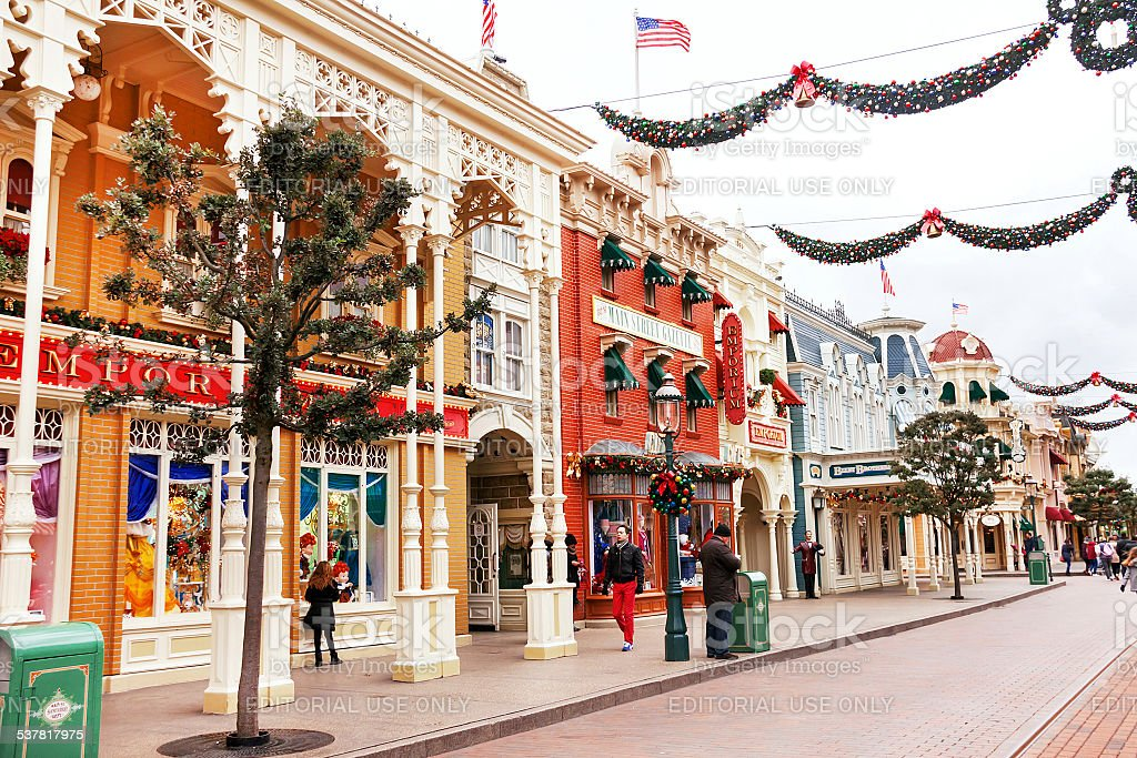 Main street is in the Disneyland Paris. France. Europe. stock photo
