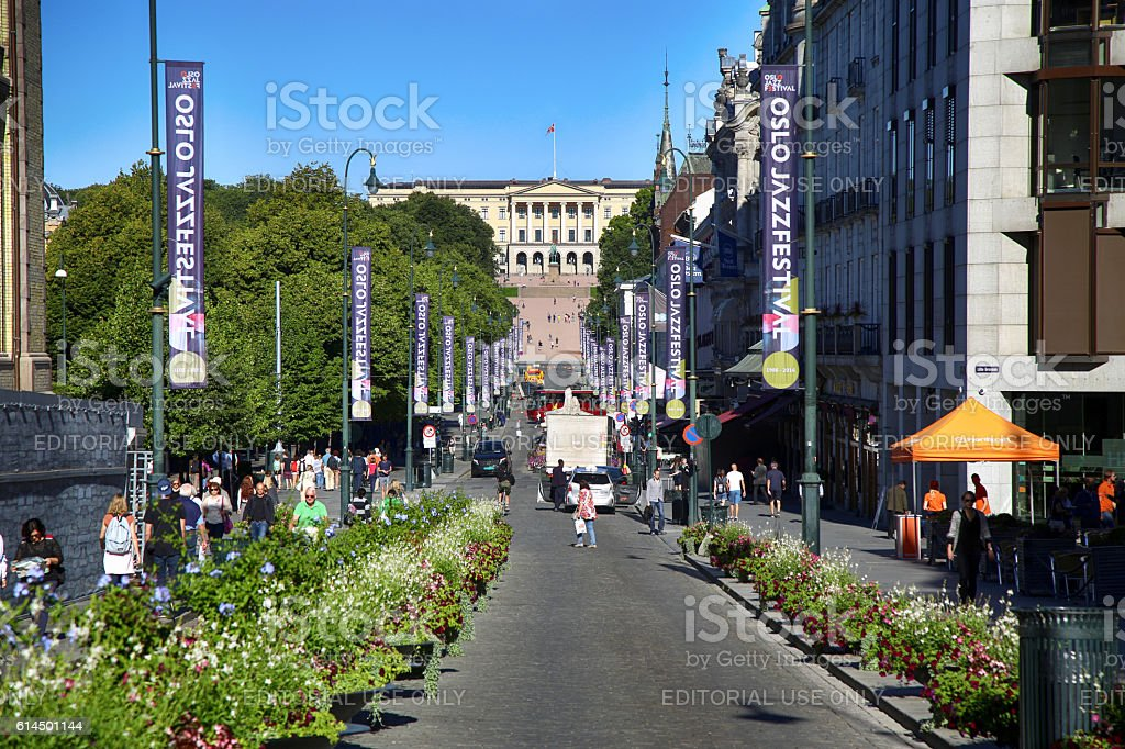 Main street Karl Johans in Oslo, Norway stock photo