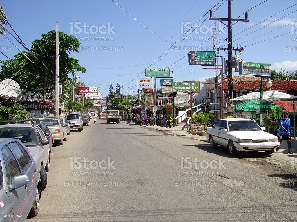 Main street of Cabarete, Dominican Republic stock photo