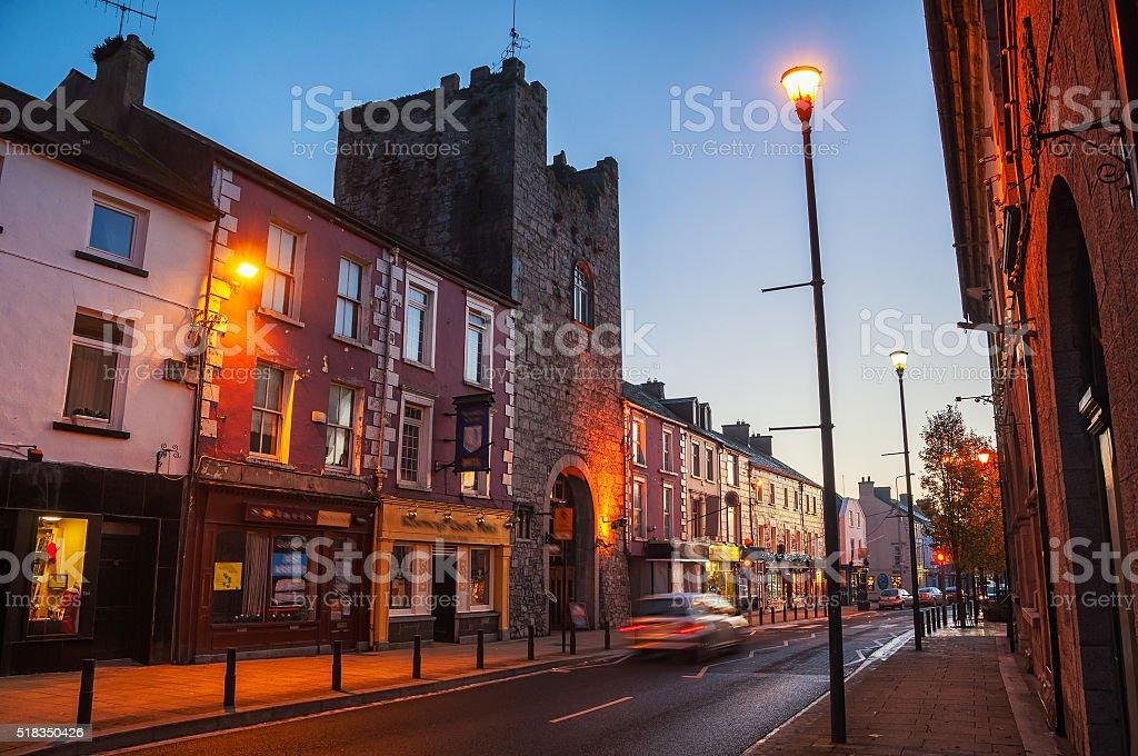 Main street of Cashel, Ireland at night stock photo