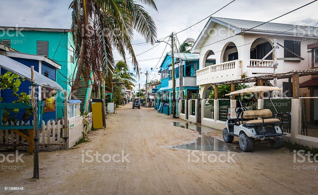 Main street of Caye Caulker - Belize stock photo