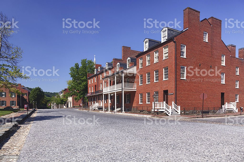 Main street of Harpers Ferry a national park stock photo