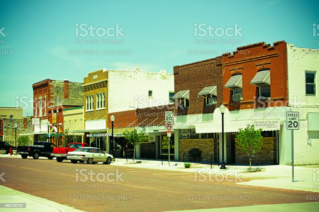 Main street of mid-west town during financial crisis stock photo