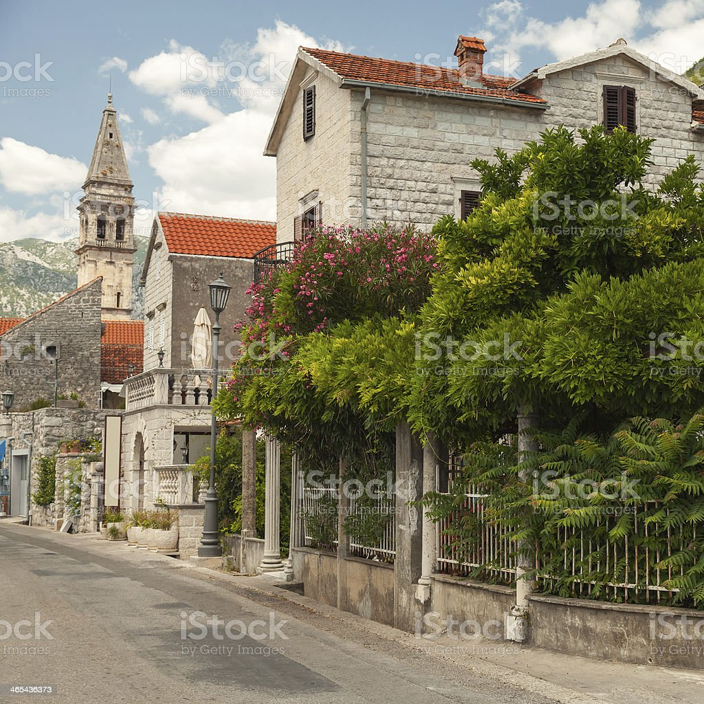 Main street of old coastal town Perast in Montenegro stock photo