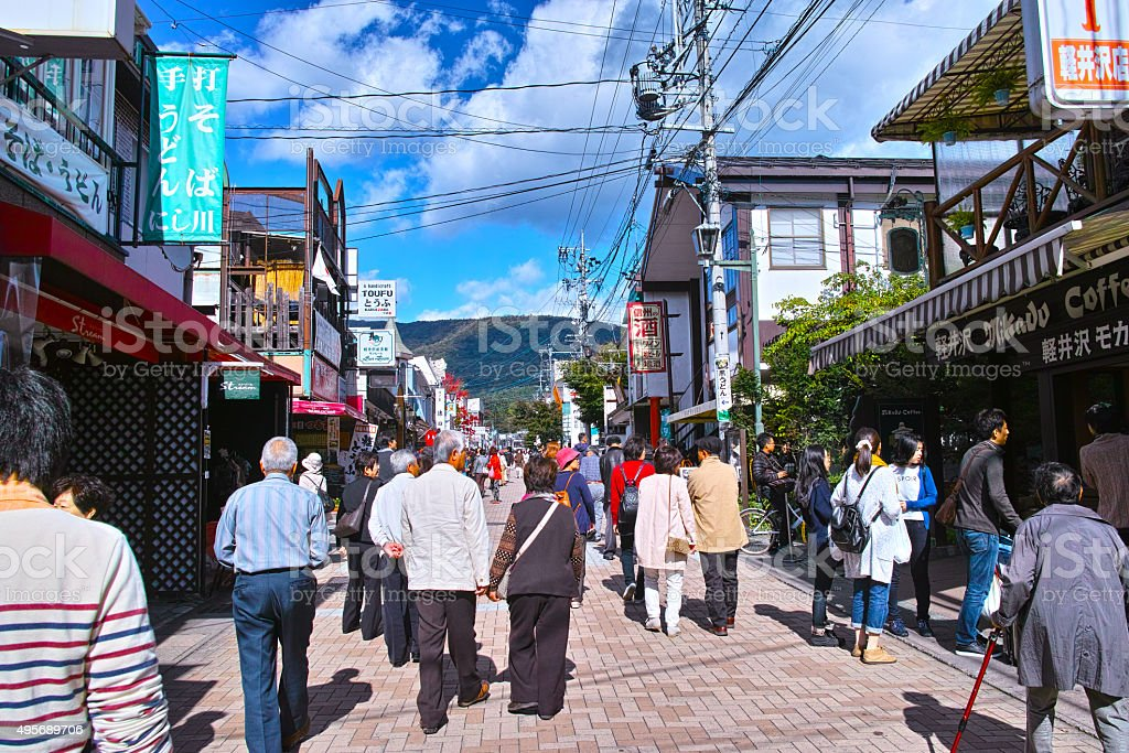 Main street of Old Karuizawa Ginza stock photo