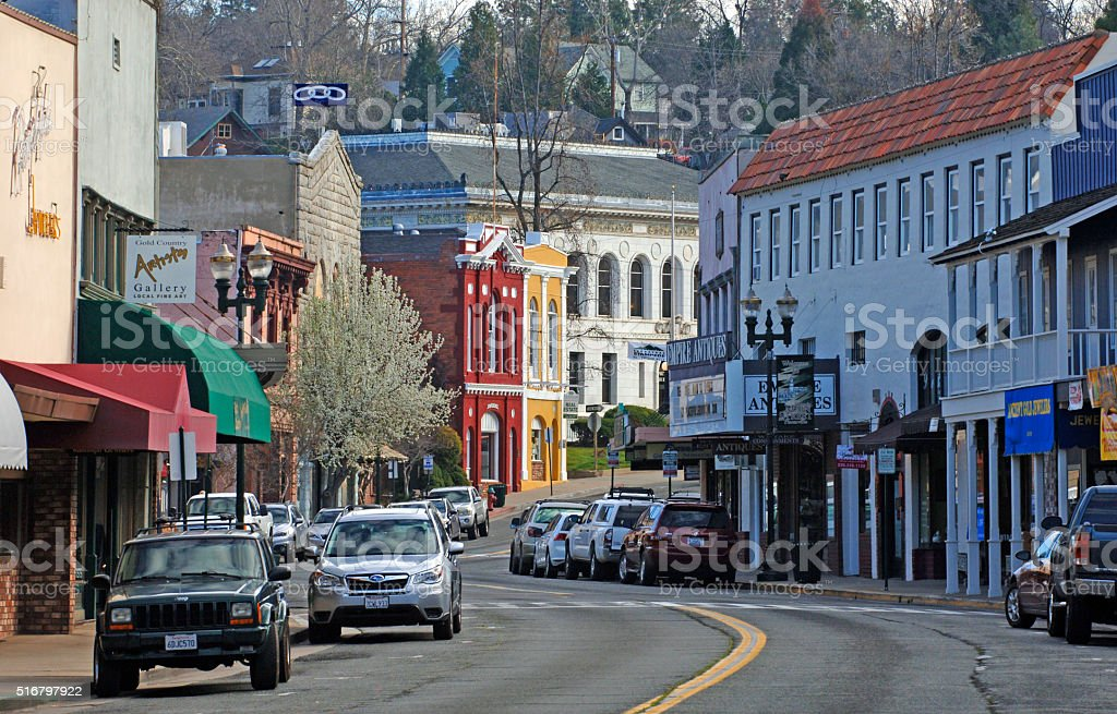 Main Street of Placerville, California stock photo