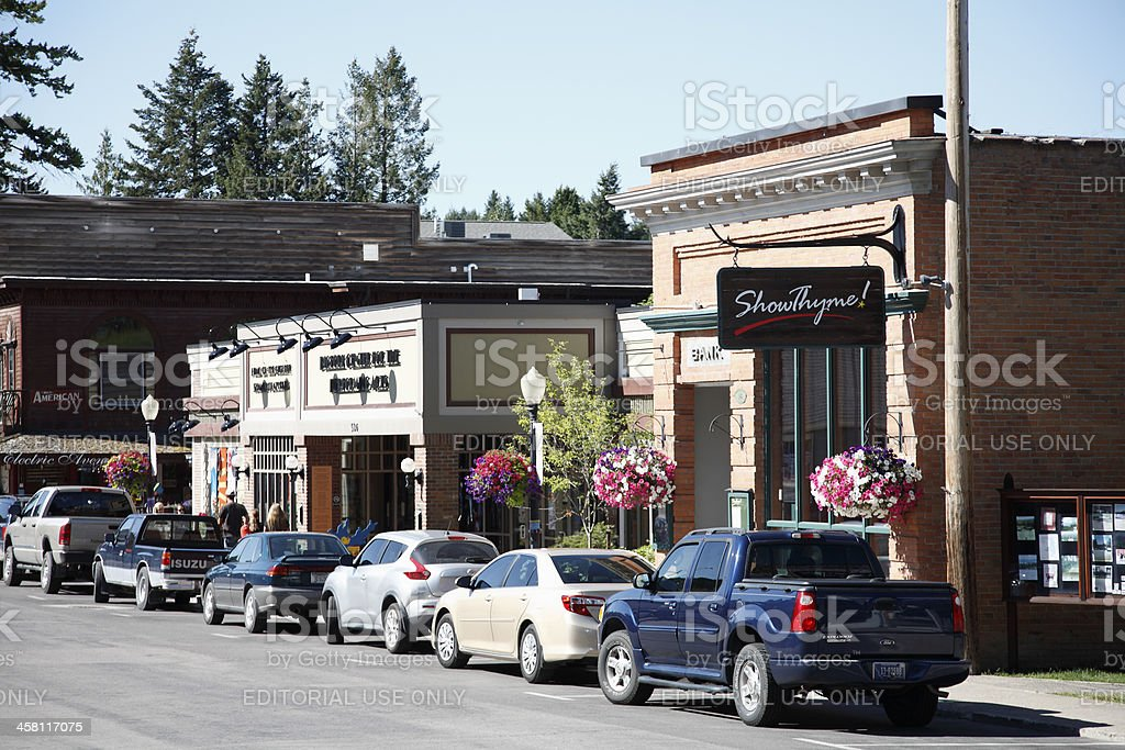 Main Street Of Small Town America stock photo