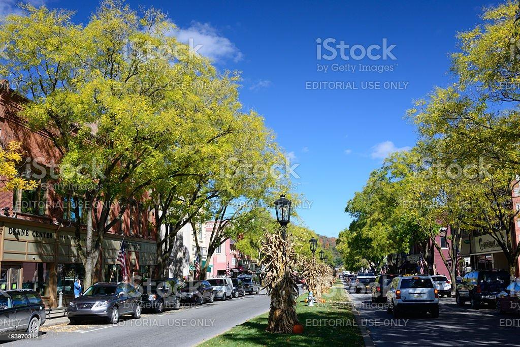 Main street of Wellsboro in Pennsylvania stock photo