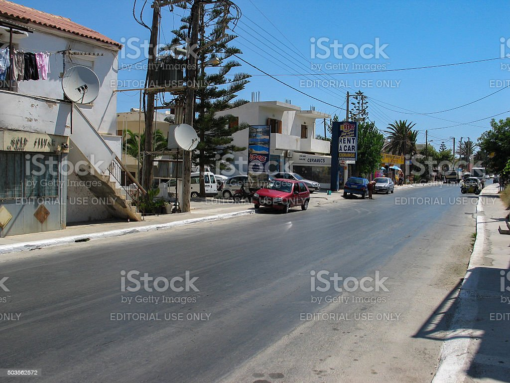 Main street on the Island of Crete stock photo