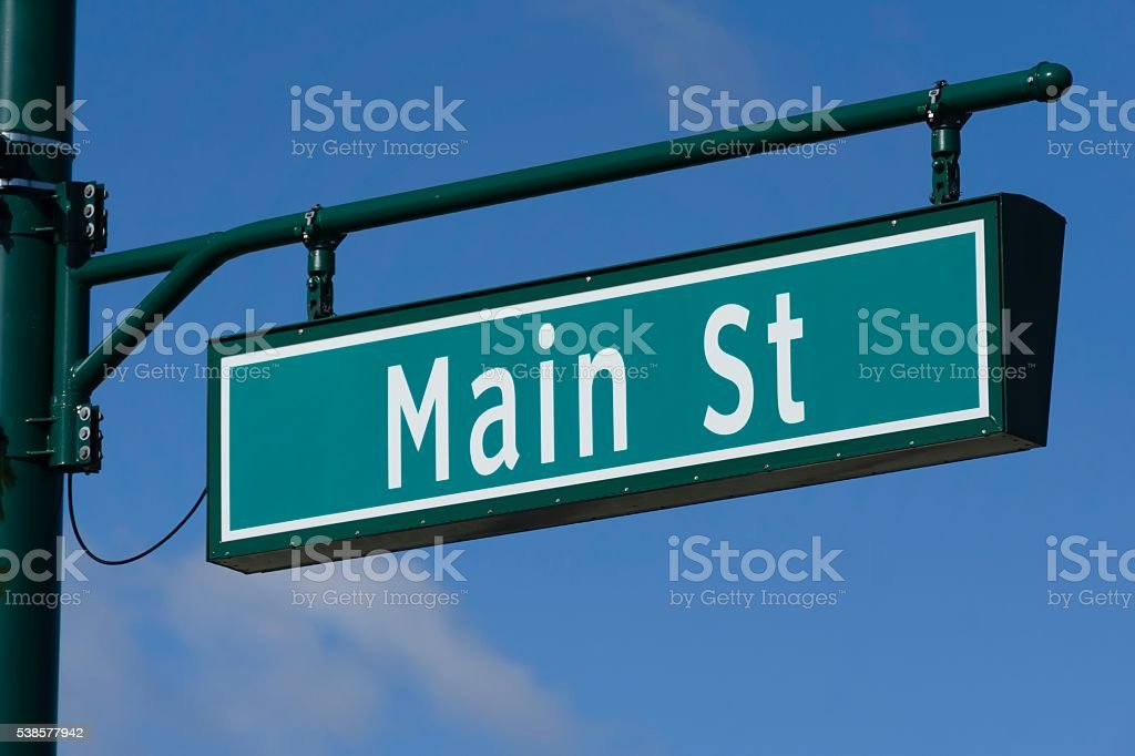 Main Street Sign Rochester Michigan stock photo