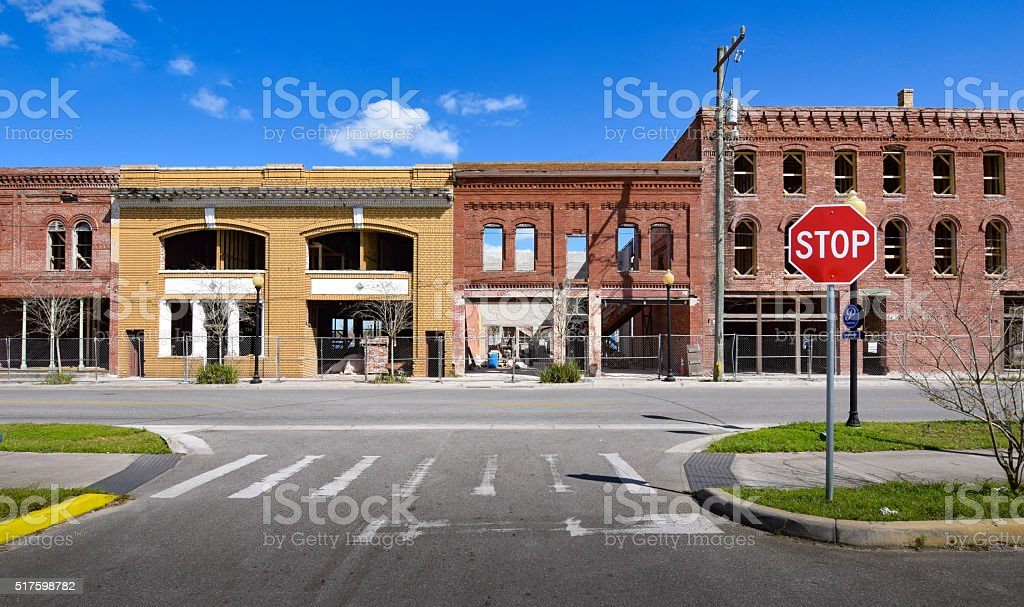 Main Street Storefronts Under Construction stock photo