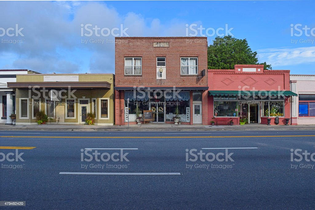 Main Street Stores in of Old Small Town stock photo