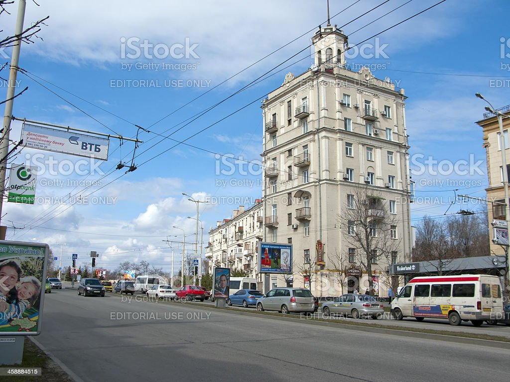 Main Street, Zaporozhye, UA royalty-free stock photo