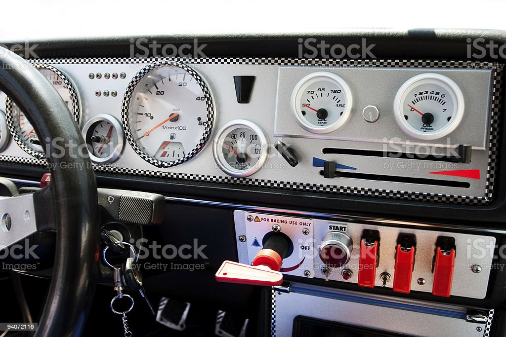 Main switch panel of race car stock photo
