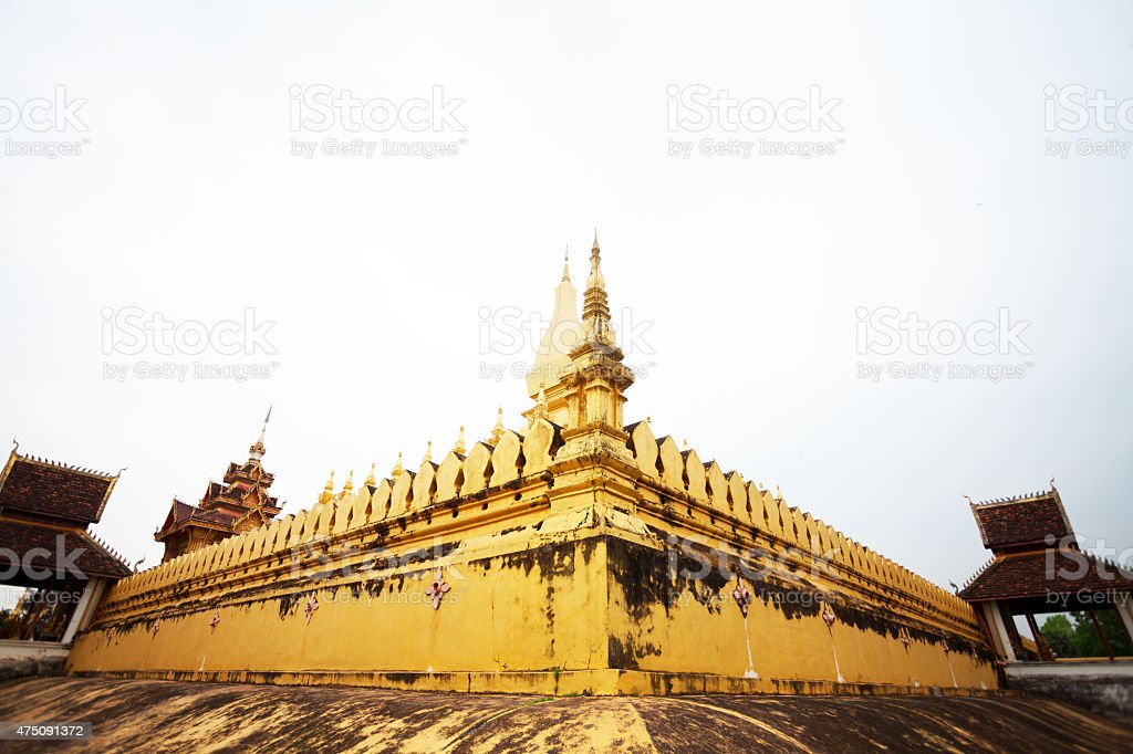 Main temple Pha That Luang in Vientiane stock photo