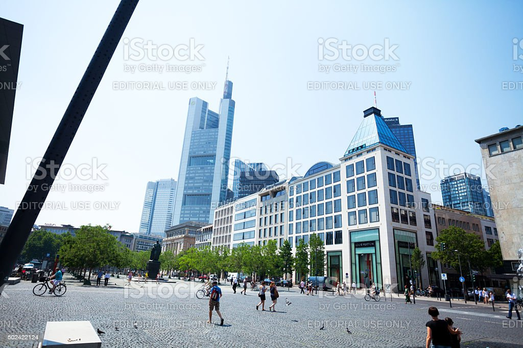 Main Tower and Commerzbank seen from Goetheplatz stock photo