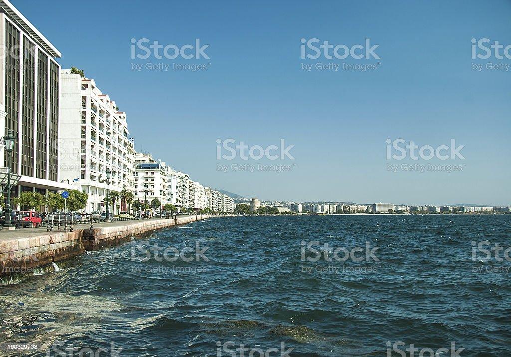 Main view on Thessaloniki embankment royalty-free stock photo