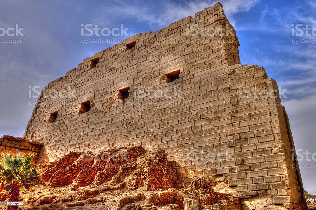 Main wall of the temple Amon at Karnak royalty-free stock photo