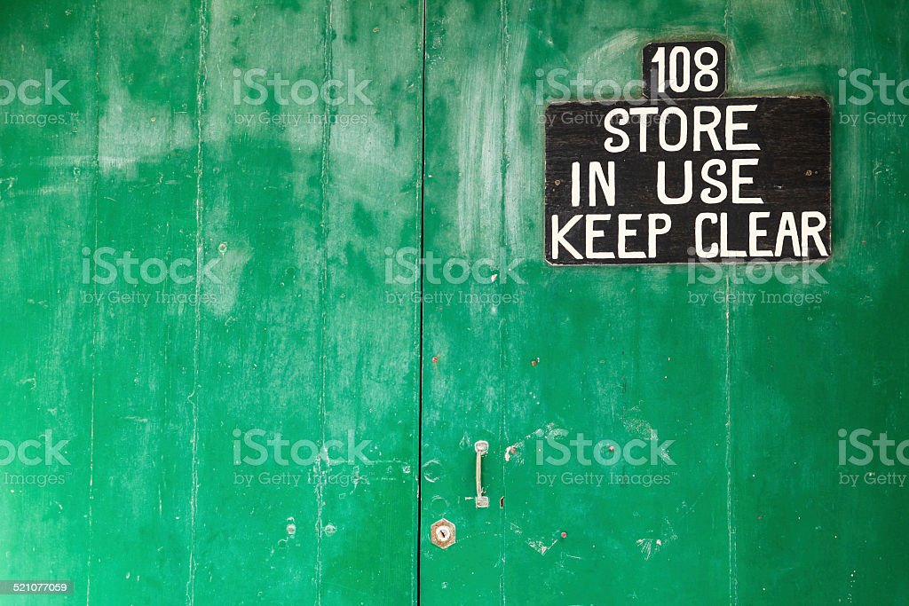 maindoor of store..keep clear!! stock photo
