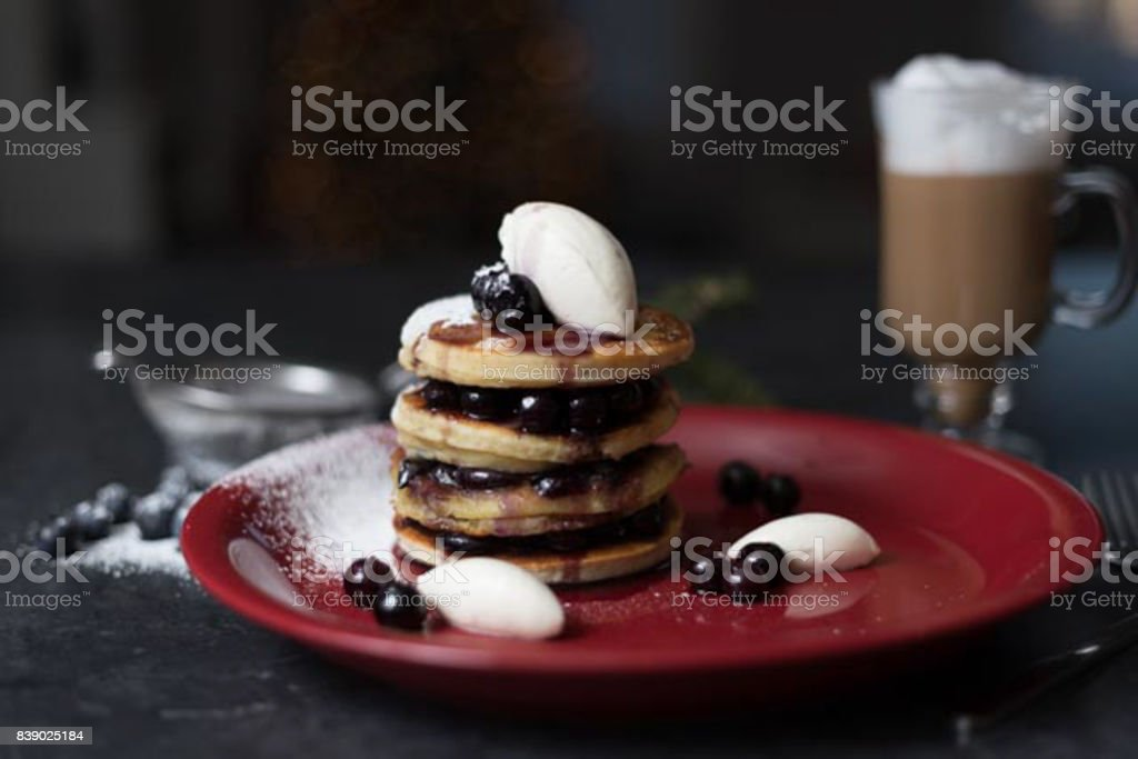 maine blueberry pancakes stock photo