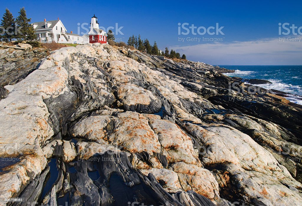 Maine Coastal Lighthouse stock photo
