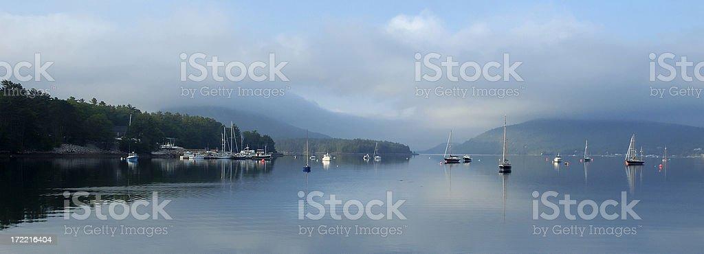 Maine harbor panorama royalty-free stock photo