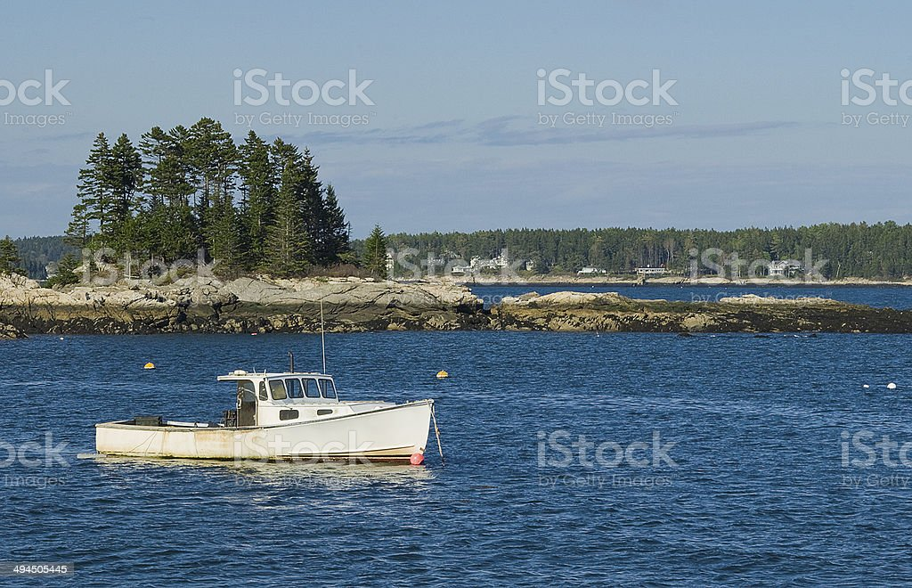 Maine Lobster Boat stock photo