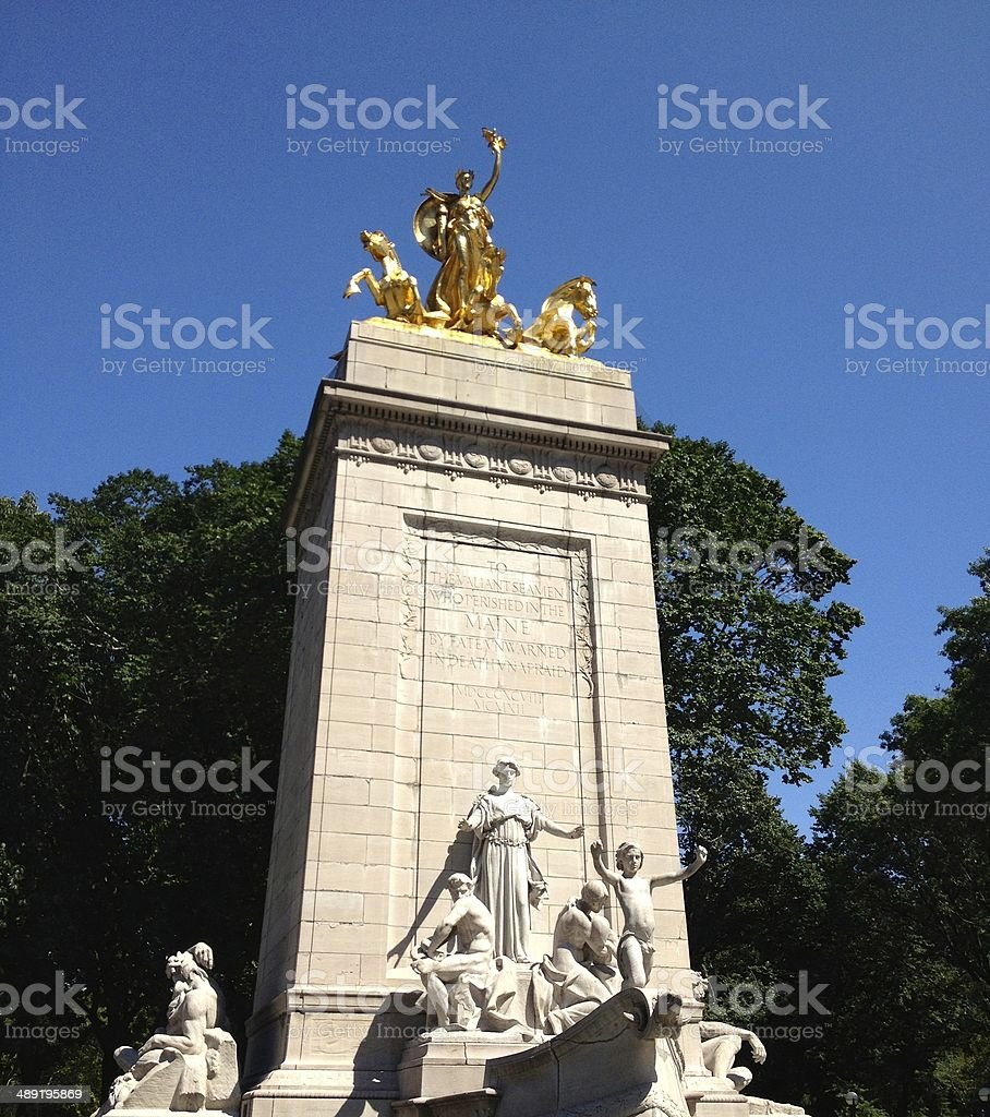USS Maine Monument at Columbus Circle in NY royalty-free stock photo