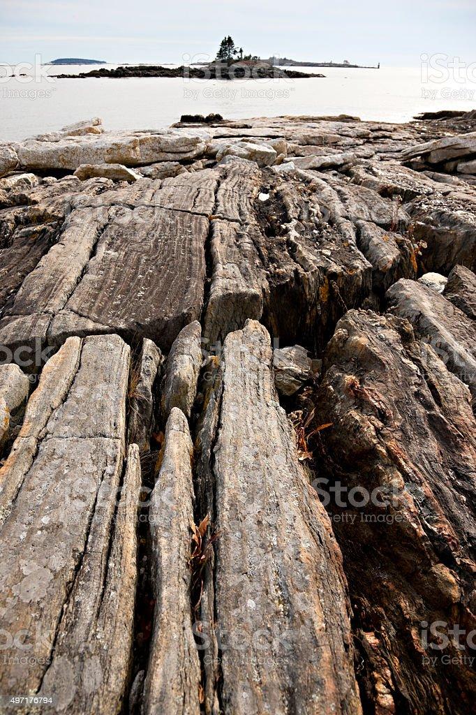 Maine rocky coastline stock photo
